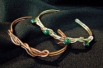 Copper and Sterling Wire Malachite Bracelets